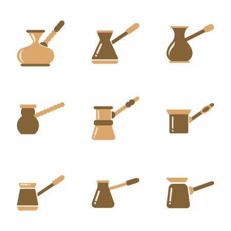 turk: assembly of flat icons coffee arabic Turk