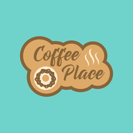 hot couple: flat icon on stylish background coffee drink place Illustration