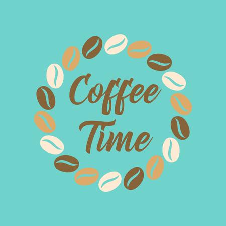 flat icon on stylish background bean Coffee time logo