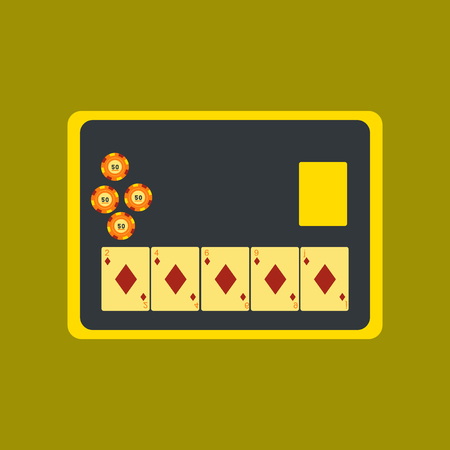 game show: flat icon on stylish background poker board card chip Illustration