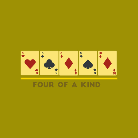 four of a kind: flat icon on stylish background poker four of kind