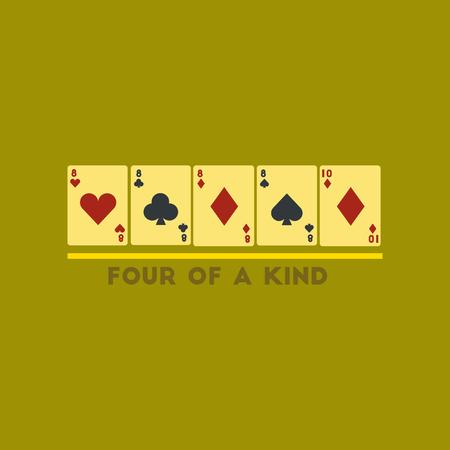 flat icon on stylish background poker four of kind