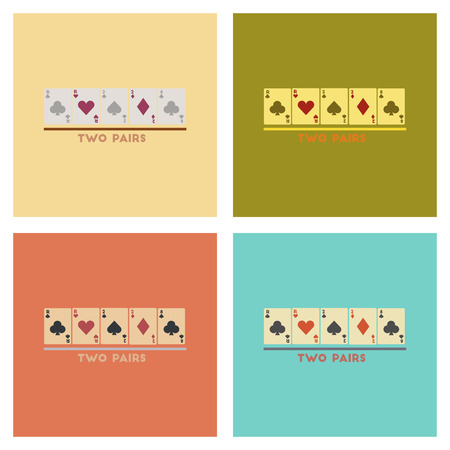 knave: assembly of flat icons poker two pairs