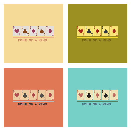 four of a kind: assembly of flat icons poker four of a kind Illustration