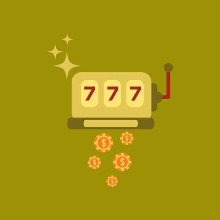 winnings: flat icon on stylish background poker slot machine winnings Illustration
