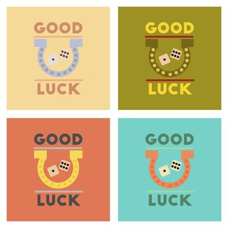 luckiness: assembly of flat icons poker good luck logo Illustration