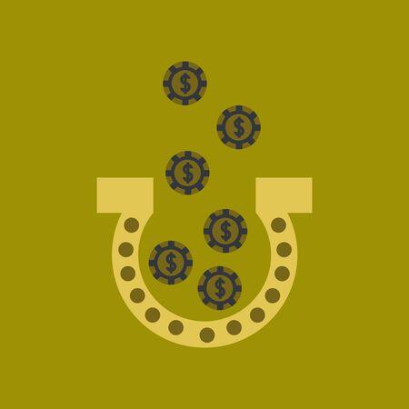 luckiness: flat icon on stylish background poker good luck logo Illustration