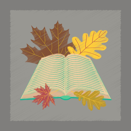 flat shading style icon school open book leaves