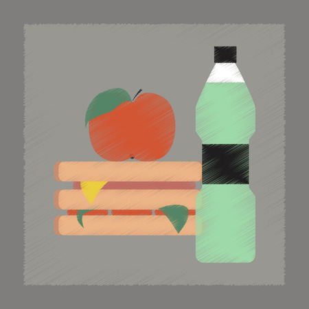 manzana agua: la manzana de agua s�ndwich icono de la escuela de estilo sombreado plano Vectores