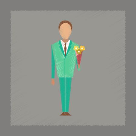 schoolchildren: flat shading style icon Cartoon schoolboy flowers