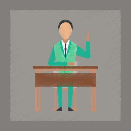 PRINCIPLES: flat shading style icon school pupil at school desk