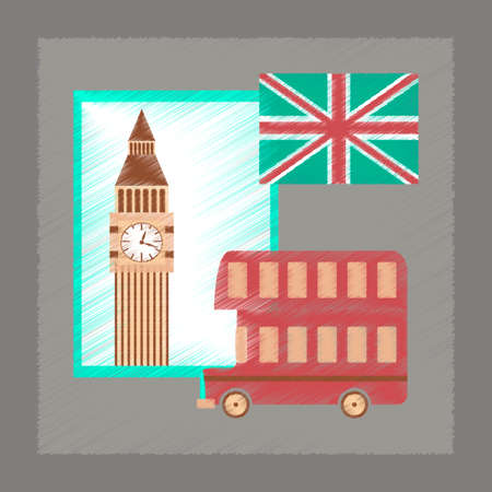 britannia: flat shading style icon school United Kingdom set Illustration