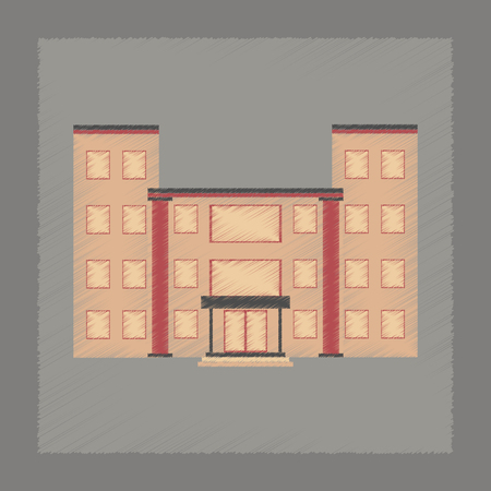city building: flat shading style icon city school building Illustration