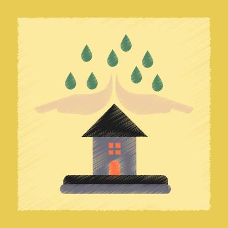 protected: flat shading style icon nature hand house rain
