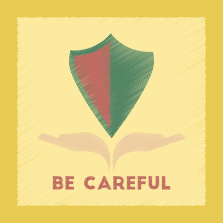 be careful: flat shading style icon nature be careful hand shield
