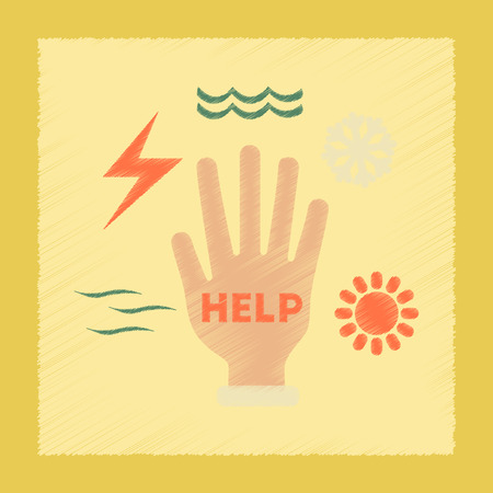 disasters: flat shading style icon nature hand disasters Illustration