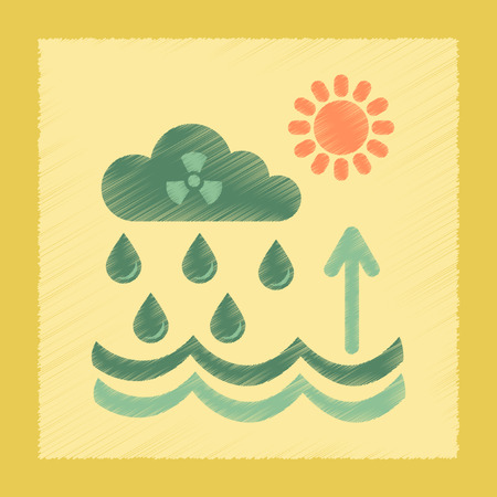 polluted cities: flat shading style icon nature Radioactive cloud and rain Illustration