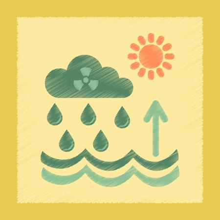 flat shading style icon nature Radioactive cloud and rain Illustration