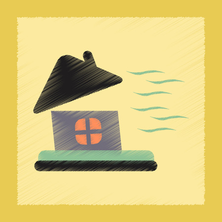 hilly: flat shading style icon nature storm the house Illustration