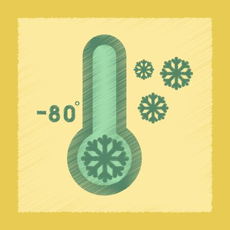 metrology: flat shading style icon nature thermometer cold weather