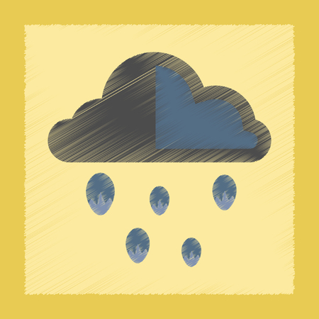 hailstorm: flat shading style icon nature cloud hail Illustration