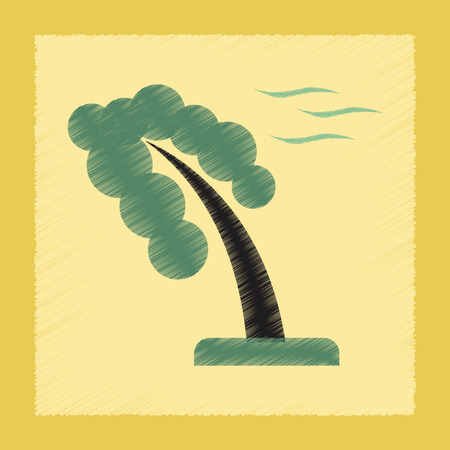 windy day: flat shading style icon nature strong wind tree