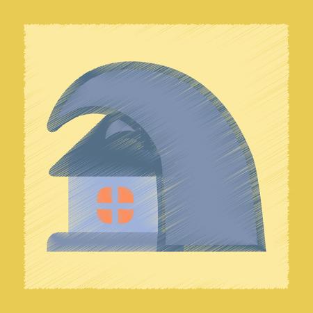 high damage: flat shading style icon nature tsunami house