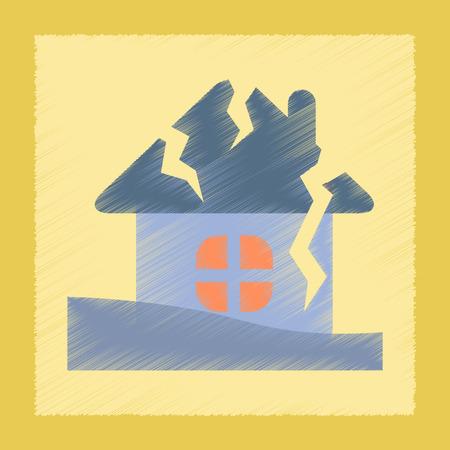 ruined house: flat shading style icon nature house crash Illustration