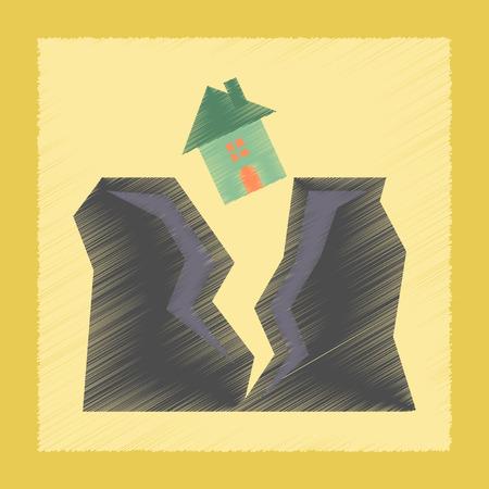 tremor: flat shading style icon nature house earthquake