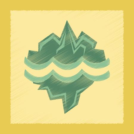 glacier: flat shading style icon nature melting glacier