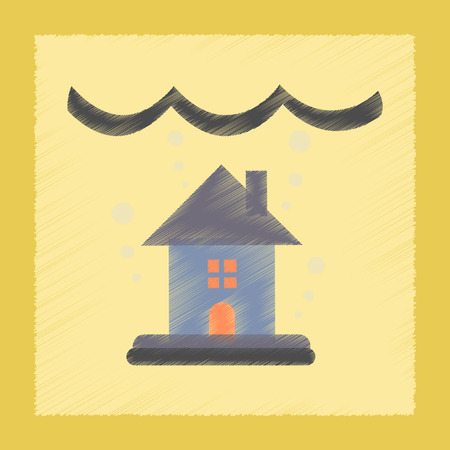 house flood: flat shading style icon nature flood house
