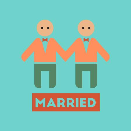 newlyweds: flat icon on stylish background gays newlyweds wedding