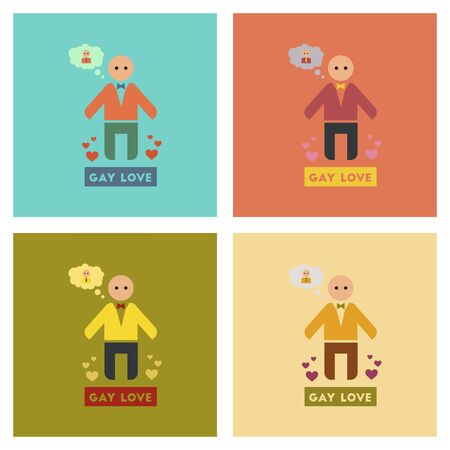 homosexual sex: assembly of flat icons homosexual gays lovers Illustration