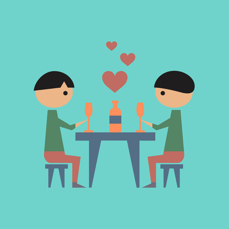 romantic dinner: flat icon on stylish background gays romantic dinner