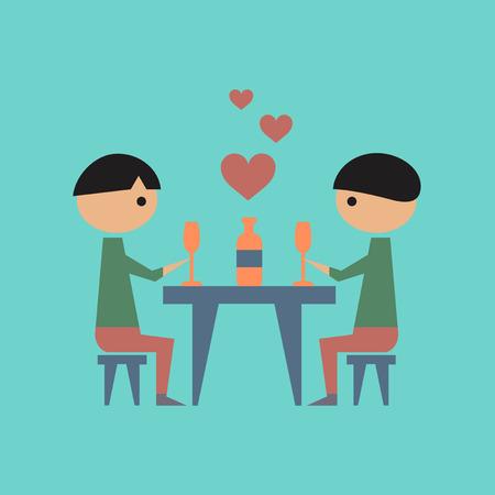 flat icon on stylish background gays romantic dinner