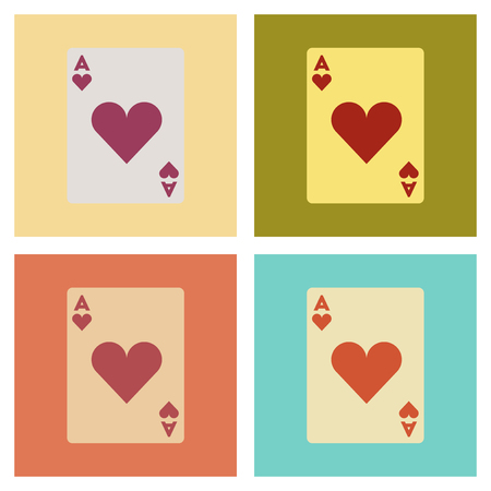 royal house: assembly of flat icons poker playing card