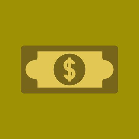 icône plate sur fond élégant poker dollar argent