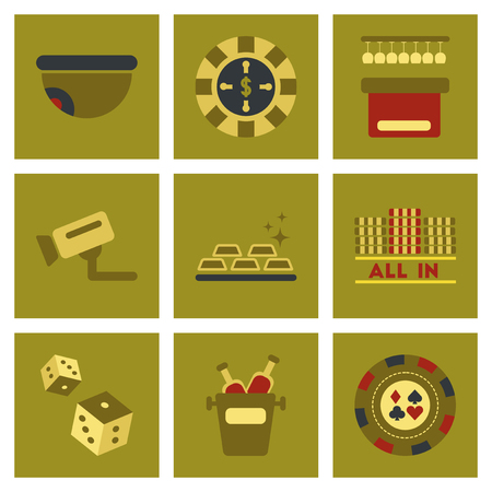 poker game: assembly of flat icons casino poker game Illustration