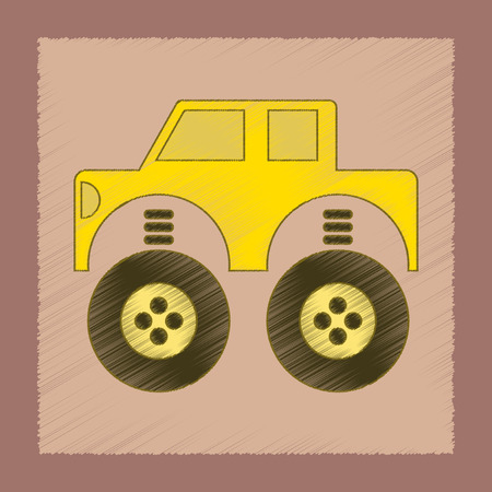 toy car: flat shading style icon Kids toy car