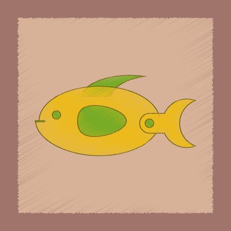 flat shading style icon Kids toy fish Illustration