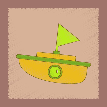toy boat: flat shading style icon Kids toy boat