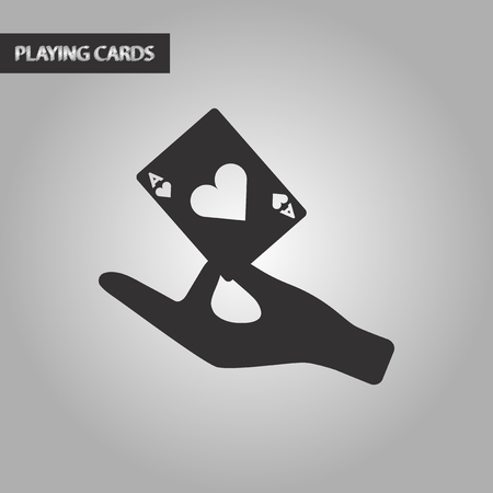 hand holding playing card: black and white style poker hand playing cards Illustration