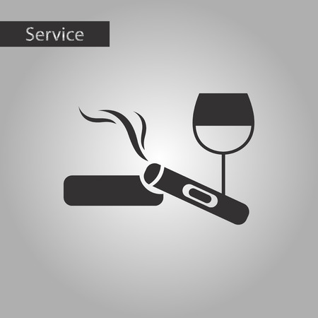 sobriety: black and white style poker cigar glass of wine Illustration