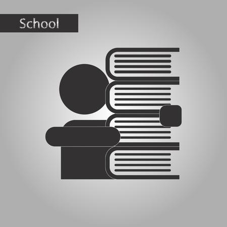 schoolboy: black and white style icon schoolboy books Illustration