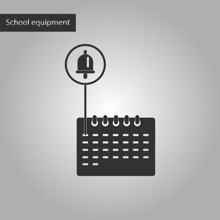 calendario escolar: calendario icono de la escuela estilo blanco y negro