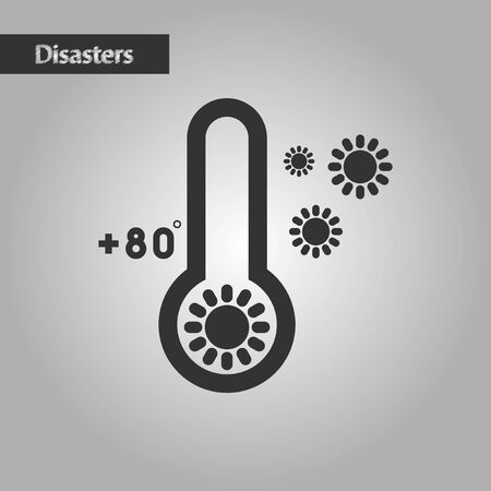 rising temperature: black and white style nature thermometer hot weather Illustration