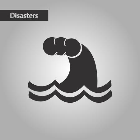 natures: black and white style natures tsunami danger Illustration