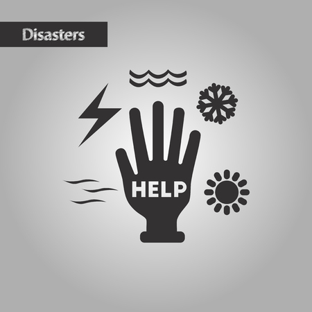 disasters: black and white style nature hand disasters Illustration