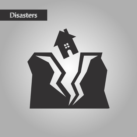 disaster relief: black and white style nature house earthquake