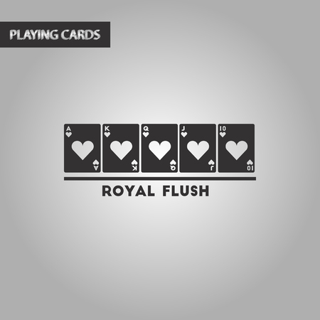 royal flush: black and white style poker royal flush